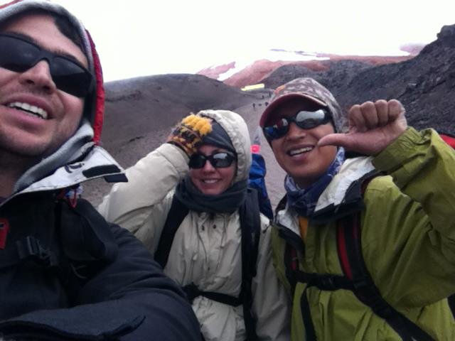 Ecuador, 2012. I'm climbing Cotopaxi volcano - almost 1 mile up on foot with crampons and ice axes. The snowy top of the mountain is barely seen from here, covered with clouds
