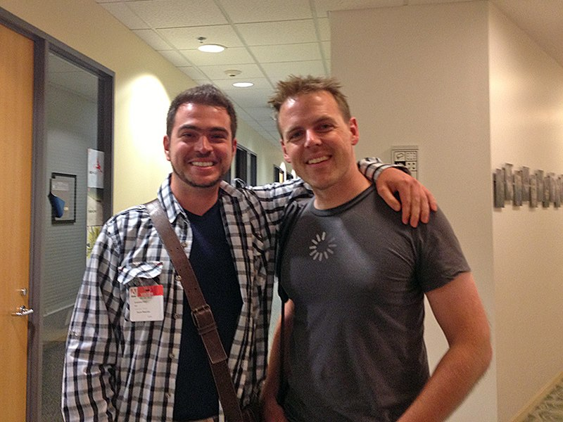"San Jose, 2013. Me and John Nack - former principal Photoshop manager. We're on the ""Photoshop floor"" in Adobe's HQ!"