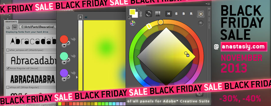 Black Friday Sale 2013 at anastasiy.com! Huge discounts on all panels for Adobe Creative Suite and Creative Cloud!