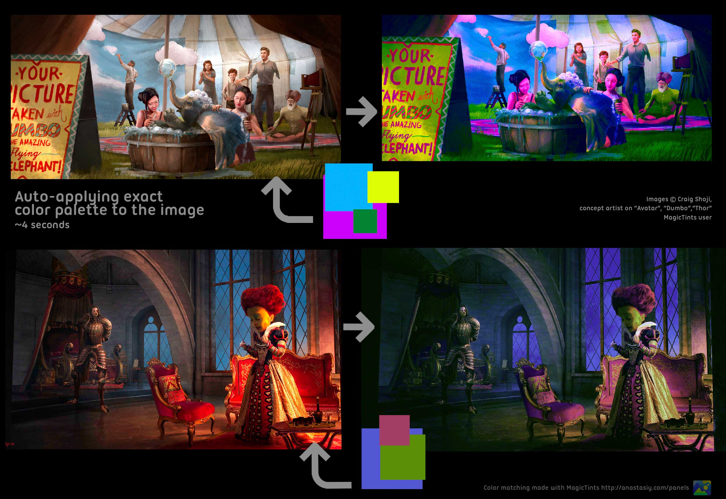 Auto-applying exact color correction to the image with MagicTints