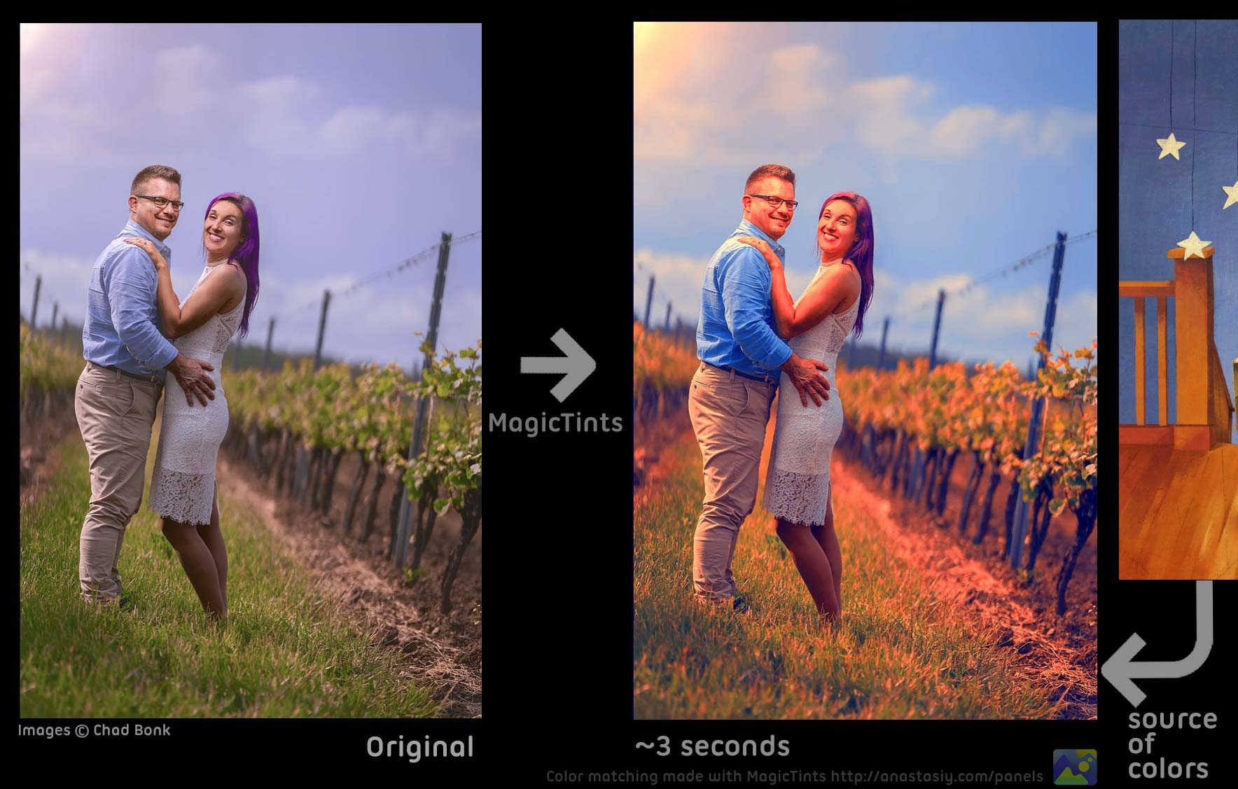 MagicTints: High-end Color Correction that auto-works with any type of imagery