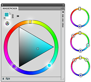 Photoshop MagicPicker color wheel with color schemes