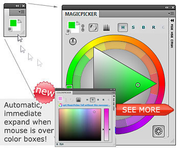 MagicPicker Color Wheel colorpicker panel for Adobe Photoshop CS6, CS5, CS4, CS3