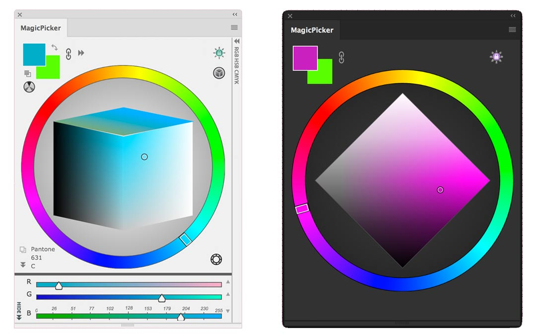MagicPicker: LDT Cube Color Picker (left) and PRO Mode (right)