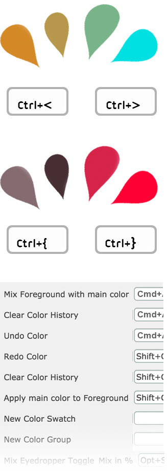 Assign keyboard shortcuts for mixing colors