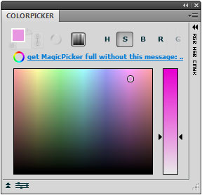 FREE ColorPicker trial Photoshop panel includes only a color pane, no color wheel