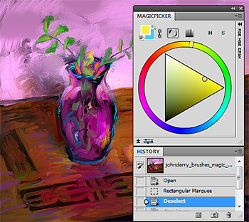 MagicPicker Photoshop color wheel screenshot with digital painting