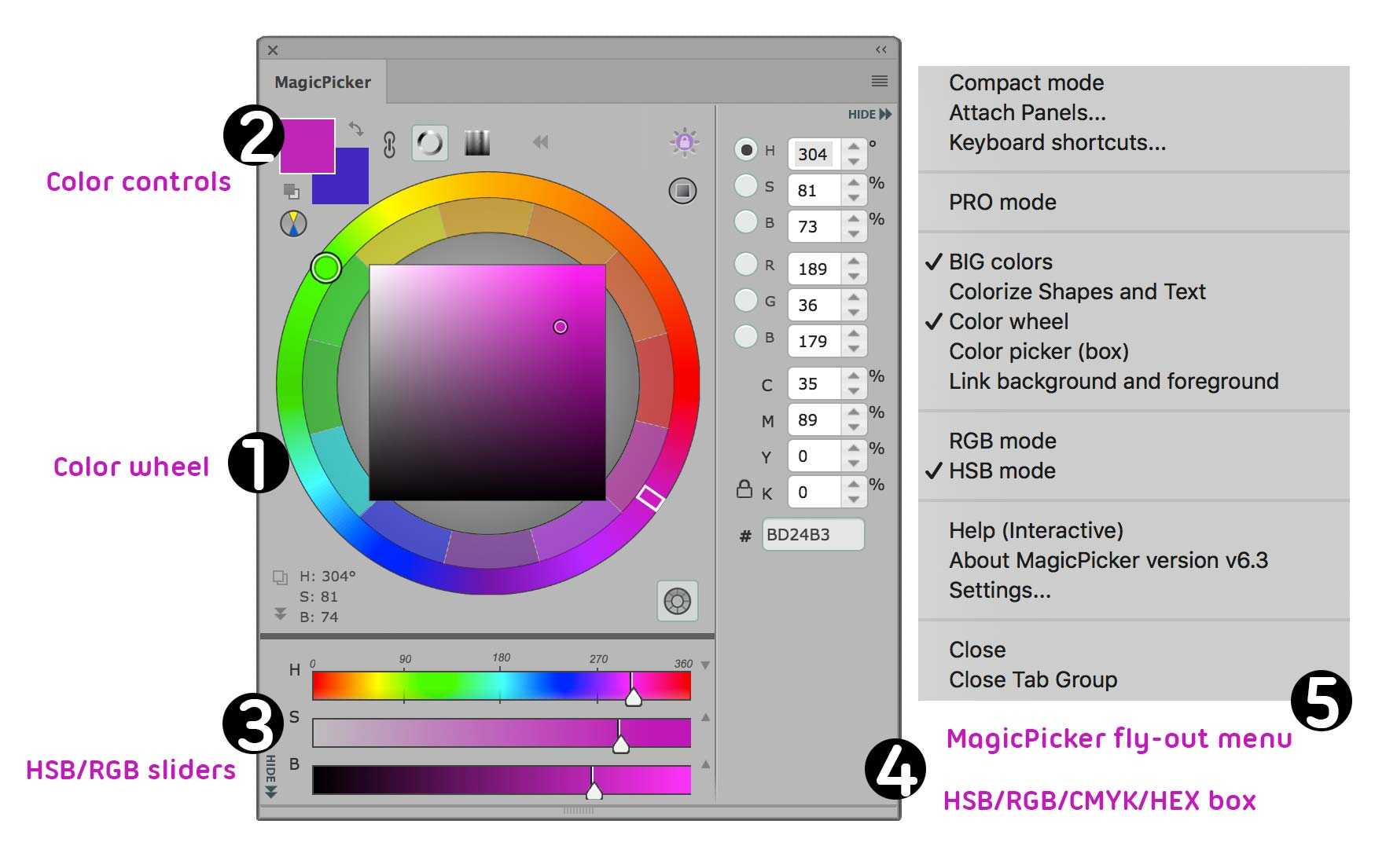 MagicPicker color wheel mode areas
