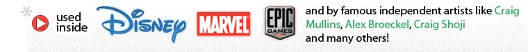 Used inside Disney, Marvel, Epic Games and by famous artists like Craig Mullins, Alex Broeckel, Craig Shoji
