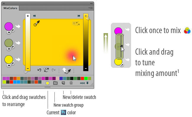 MixColors: Click once to mix Click and drag to tune mixing amount. Click and drag swatches     to rearrange, add, delete swatches.