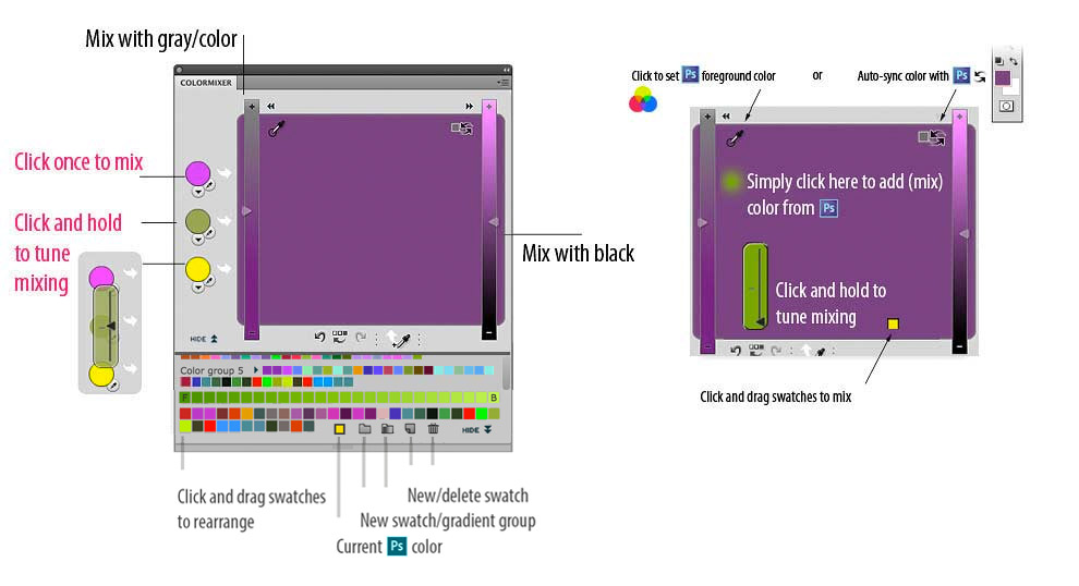 All features of MixColors - a color mixer for Photoshop