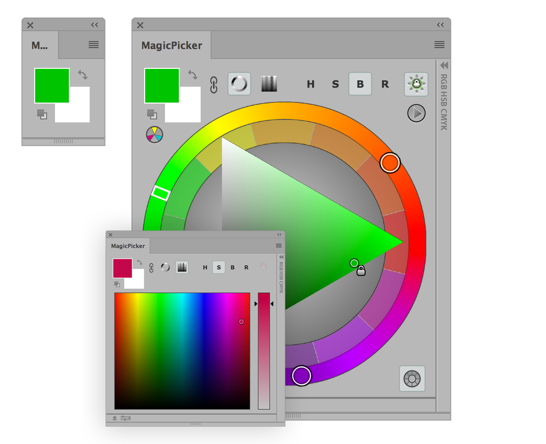 MagicPicker Rueda de Colores panel en Adobe Illustrator y Adobe Photoshop CC2017, CC2015, CC2014, CC, CS6, CS5, CS4, CS3