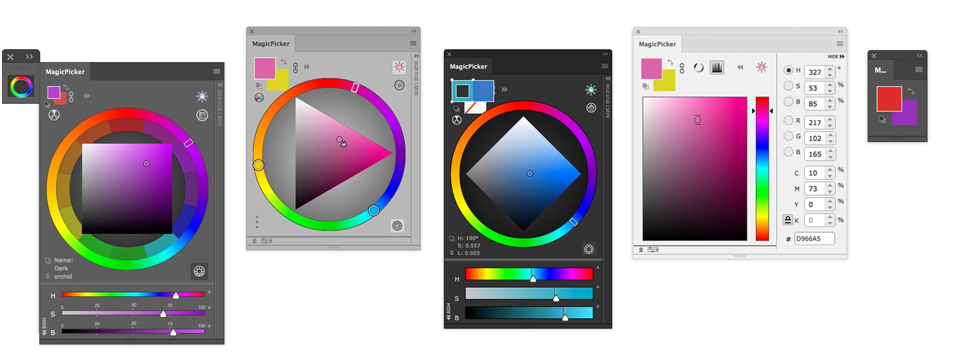 Features of MagicPicker color wheel for Photoshop CC CS6 CS5
