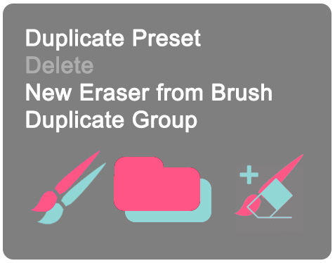 MagicSquire 4 right-click menu: Duplicate Preset, Delete, New Eraser From Brush, Duplicate Group