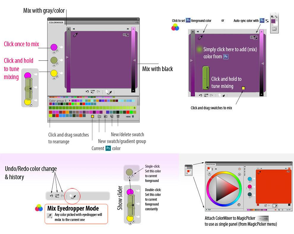Help for MixColors color mixer for Photoshop CS5 CS4 CS3