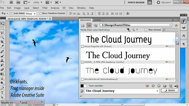 DiskFonts manages fonts in Adobe Creative Suite environment